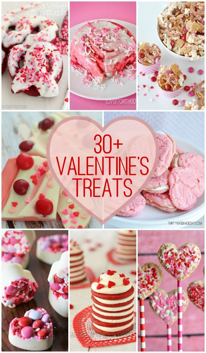 30+ Valentine's Treats - pink and red treats of all kinds for Valentine's Day on { lilluna.com } !!