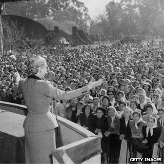 Eva Peron addressing a crowd of women workers in 1951. Eva became the one woman willing to risk it all to spark one of the largest movements of identity for Latin American women. Her influence gathered the masses and this picture is a great depiction of how popular she became.