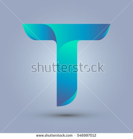 Letter T icon design and elegant typographic concept. gradient blue and green