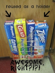 Magazine holder in cabinet. Good Idea! Do this inside pantry.