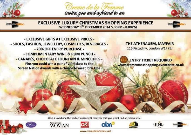 Creme de La Femme Exclusive Luxury Christmas Shopping Experience in a 5 star MayFair Hotel! Wednesday, December 3, 2014 from 5:30 PM to 8:00 PM (GMT) London, United Kingdom http://www.eventbrite.co.uk/e/creme-de-la-femme-exclusive-luxury-christmas-shopping-experience-tickets-9280559403