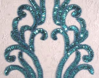 0505 turquoise spiegel paar kralen pailletten door gloryshouse