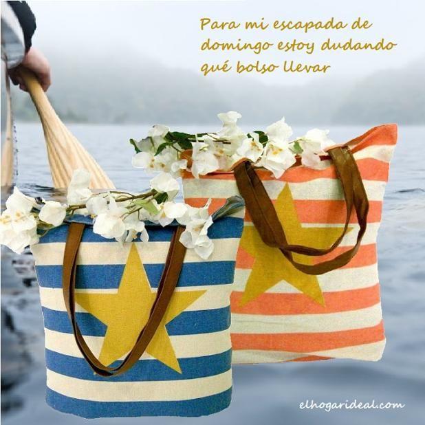 Bolsos de algodón con rayas rosas y azules y estrella amarilla. http://elhogarideal.com/es/9-textil-para-el-hogar