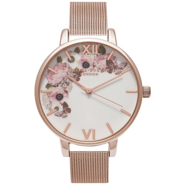 Olivia Burton OB16WG18 Women's Winter Garden Mesh Bracelet Strap... ($120) ❤ liked on Polyvore featuring jewelry, watches, bracelets, accessories, slim watches, red gold jewelry, dial watches, rose gold wrist watch and rose gold watches
