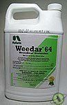 "Weedar 64 2 4 d Amine BroadLeaf Herbicide Quart nu-1005 by weedar. $39.99. 2, 4 d amine  Quart Size bottle  Weedar 64 is a non-volatile, premium DMA-4 formulation that is sequestered to 1,500-ppm water hardness. This ""workhorse"" of 2,4-D amines is registered for small grains, corn, sorghum, rice, sugarcane, irrigation ditches, pastures/rangeland, non-cropland, tree injection, lakes-water hyacinth, and tree fruit / nut crops.  Major Crop/Use**   Wheat, barley, o..."