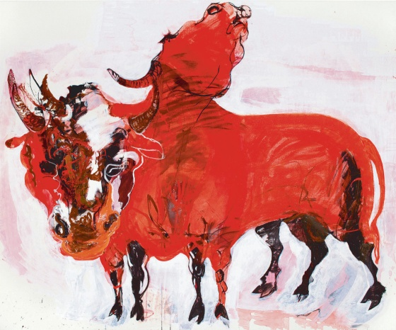 "Marjatta Tapiola: ""Two Bulls"" 2013 oil and tempera"