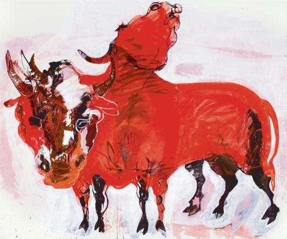 """Marjatta Tapiola: """"Two Bulls"""" 2013 oil and tempera"""