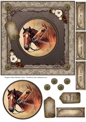 Vintage Horse 7x7 Card Front on Craftsuprint designed by Maria Christina Vieira  - Vintage 7x7 card front comes with 4 labels, 2 Tags, Topper and button decor.labels: With Love,Someone Special, Just For You, and one blank. - Now available for download!