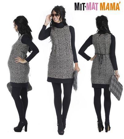 Vestidos premama. El pichi Vitra en tejido jaquard punto roma es comodísimo y te permitirá crear muchos looks diferentes. ¡Diviértete combinándolo!  #vestidospremama #pichipremama