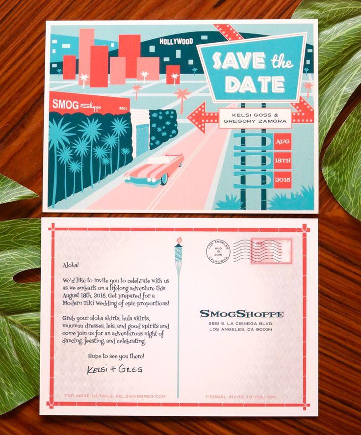 Modern Tiki Wedding - retro Save the Date postcard design