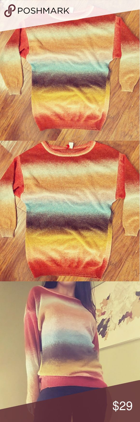 💠DIVIDED SWEATER 💠 Rainbow sweater 💯 acrylic. Excellent condition. Feel free to ask any questions... reference I'm 5'6 135 lbs H&M Sweaters Crew & Scoop Necks