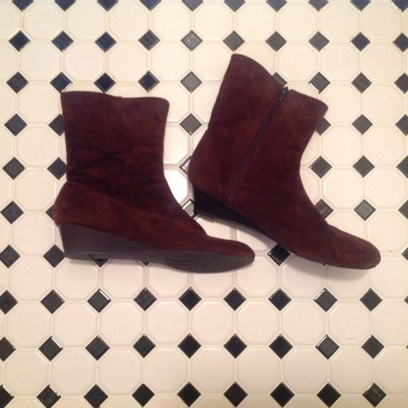 Wedge Brown Suede boots Brown Suede Boots - hardly worn! Back on❗️ Aj valenci Shoes
