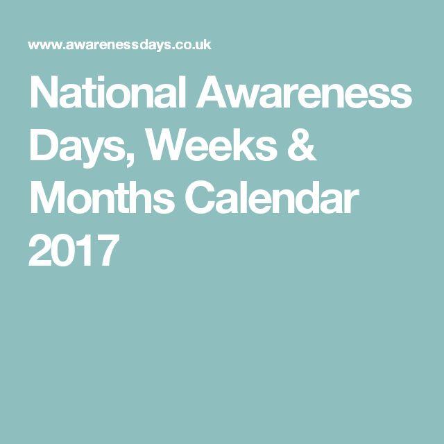 National Awareness Days, Weeks & Months Calendar 2017