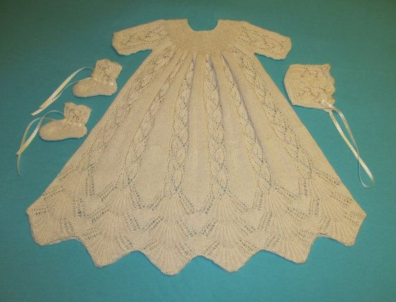"""This beautiful, lace Christening gown with matching bonnet and booties pattern is destined to become an heirloom to be passed on to future generations.  Step by step instructions and photos. This knitting pattern is a 3-6 month size.    Testimonial: From Amira - It fits perfectly and we got loads of compliments for the gown! :-) And even really outstanding reactions like """"I have never ever seen such a beautiful christening gown before!""""  I really love the design and loved to knit it! Thanks…"""
