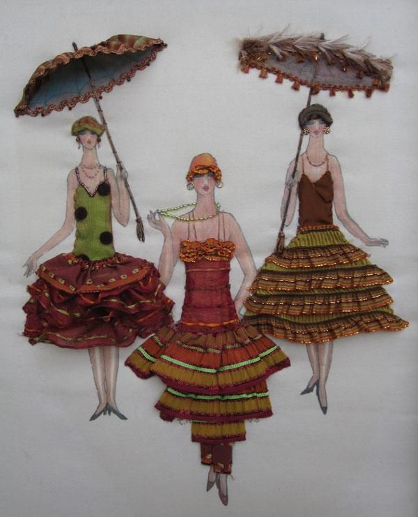 """Gatsby Girls"". A kit designed to bring out the kid still in you. Play again. Dress up hand painted figures on a neutral background, using ""fabric manipulation"". Decorate with fabrics, lace, beads. etc. Only imagination required."