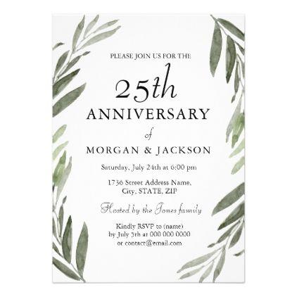 Green Leaf Wreath 25th Wedding Anniversary Invite - invitations custom unique diy personalize occasions