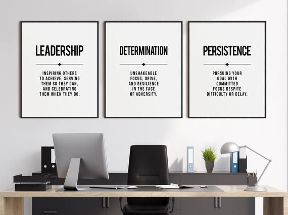 Leadership Office Wall Art Set Of 3 Prints Inspirational Etsy Inspirational Office Decor Office Wall Art Office Decor