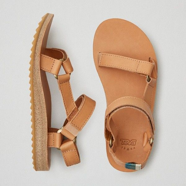 AEO Teva Original Universal Leather Sandals ($90) ❤ liked on Polyvore featuring shoes, sandals, tan, leather footwear, genuine leather shoes, tan sandals, velcro shoes and leather shoes
