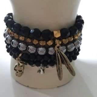 Jet, Gold & Silver set of 5 bracelets 8mm & 4mm   All Savannah Rose Jewellery is lovingly handmade from my wee studio at home just for you.  Made in New Zealand  Enjoy !