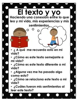 Making Connections: text to self, text to text and text to world. Anchor charts with questions, bookmarks so students do not have to stop in the middle of their reading, but can easily go back and find their place, and a recording page. This product is in Spanish, it is also available for free in English.