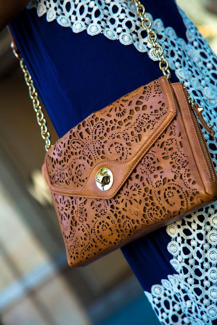 Laser-cut Brown Handbag - Stylishlyme