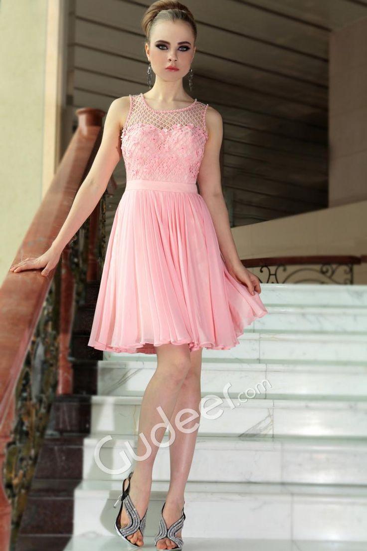 Cute Short Wedding Dresses   Pink Short A-line Cute Wedding Guest Dress with Sleeveless Net Jewel ...