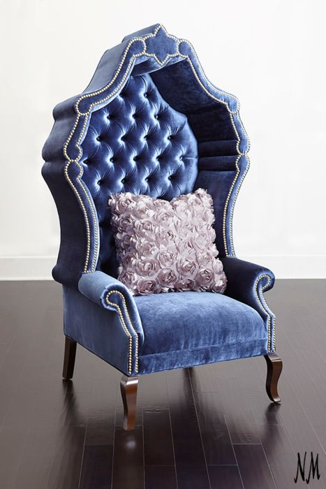 This royal blue, throne-inspired chair by Haute House adds a regal touch to your home. Place in a bedroom suite or an entryway, or add a pair to your living room for stylish fireside seating.