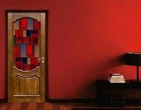 Adesivo per porte Vetro Rosso