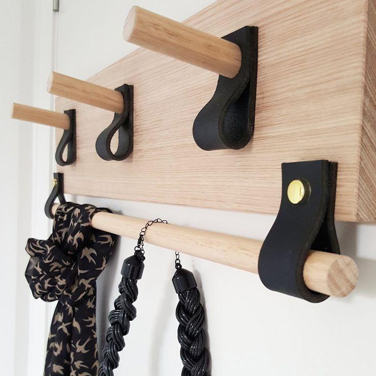 Tasmanian Oak Accessory Rack - Black Leather - Small