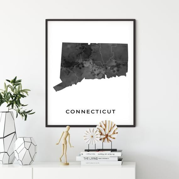 Connecticut Map Art Poster Black And White Wall Art Print Of Etsy In 2020 Black And White Wall Art White Wall Art Poster Art