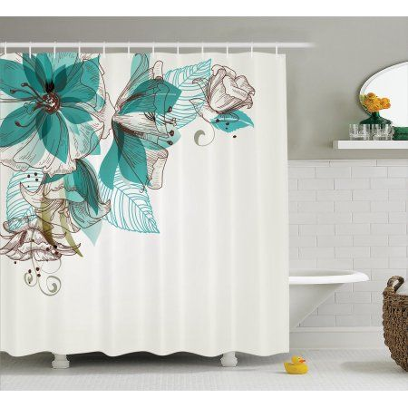Turquoise Decor Shower Curtain Set, Flowers Buds Leaf At The Top Left Corner Retro Art Festive Season Celebrating Theme, Bathroom Accessories, 69W X 70L Inches, By Ambesonne
