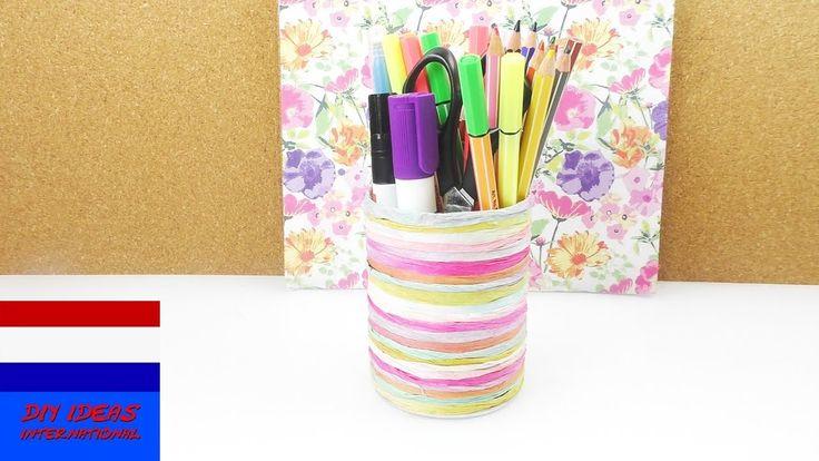 DIY pennenhouder | leuk zomers opbergidee voor op je bureau | papier of garen | creative paper