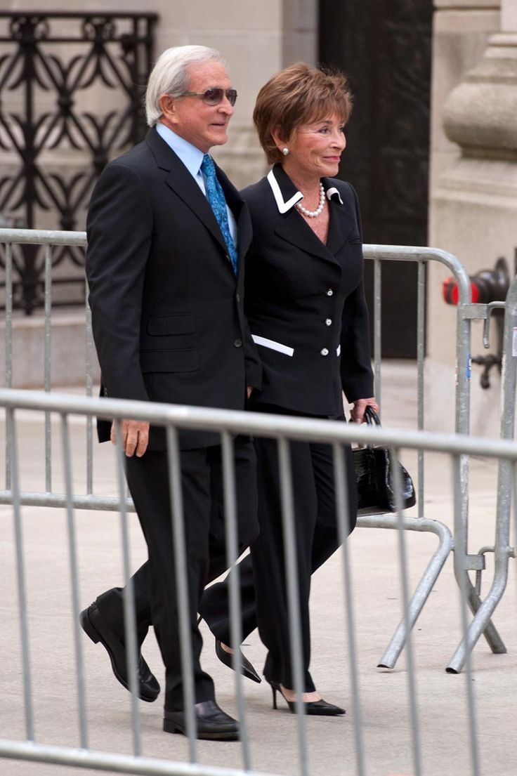 TV judge, Judge Judy, arrives to the memorial service with her husband Jerry Sheindlin.