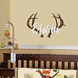 BATTOO Personalized Name Wall Decal Deer Head Decor  Wall Decal Boys Hunting  Themed Woodland Nursery Part 96