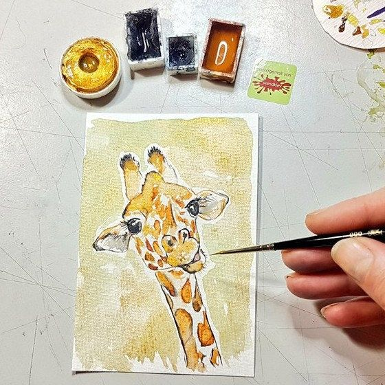 New in: Giraffe original mini painting available again - for bringing joy in your nursery (or office... 😊)