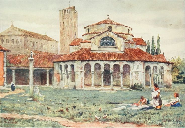 S. Fosca and Cathedral, Torcello. Watercolour by William Wiehe Collins (1862-1951)