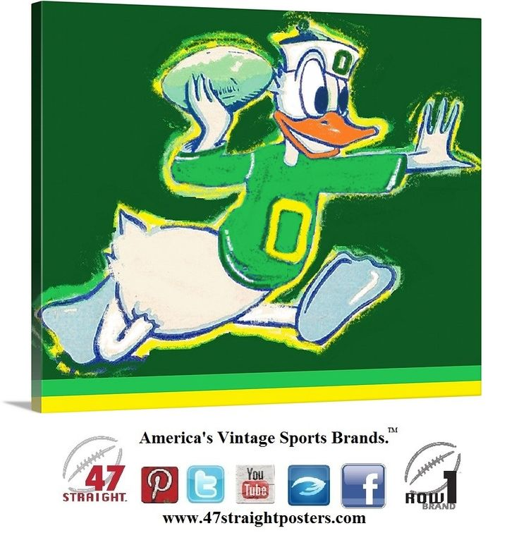 Vintage Oregon Duck football art on canvas made from a 1947 #Oregon #Ducks #collegefootball ticket. #football #cartoon #vintage #sports #art #cybermonday #cybermondaydeals #gifts #giftideas