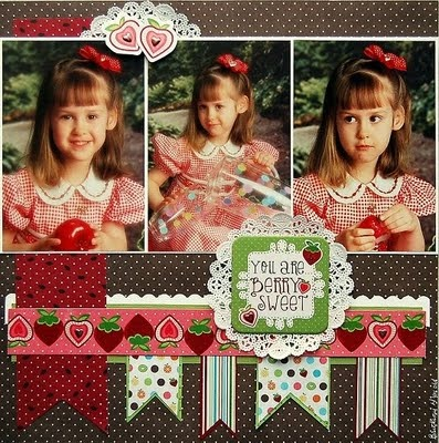Scrapbook page idea.Sketches Savvy, Scrapbook Pages Layout, Paper Doilies, Scrapbookingeveryday Layout, Scrapbook Ideas Girls, Scrapbook Layout, Paper Crafts, Sweets Paper, Berries Sweets