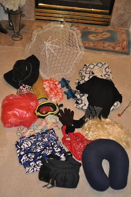Review game: If student gets it wrong, they need to choose an item from the bag to wear, if they get it correct: teacher wears the item!