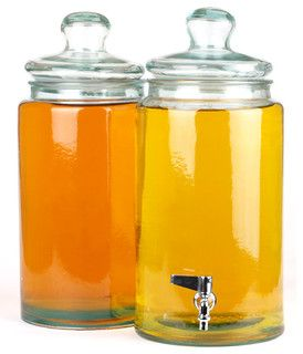 Cylinder Glass Jar with Metal Spout - Traditional - Cups And Glassware - by Classic Hostess