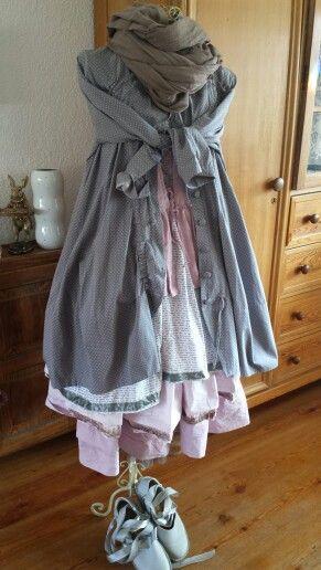 DIY Linentunika und Stufenrock..gefärbt mit Annie Sloan Chalk Paint....