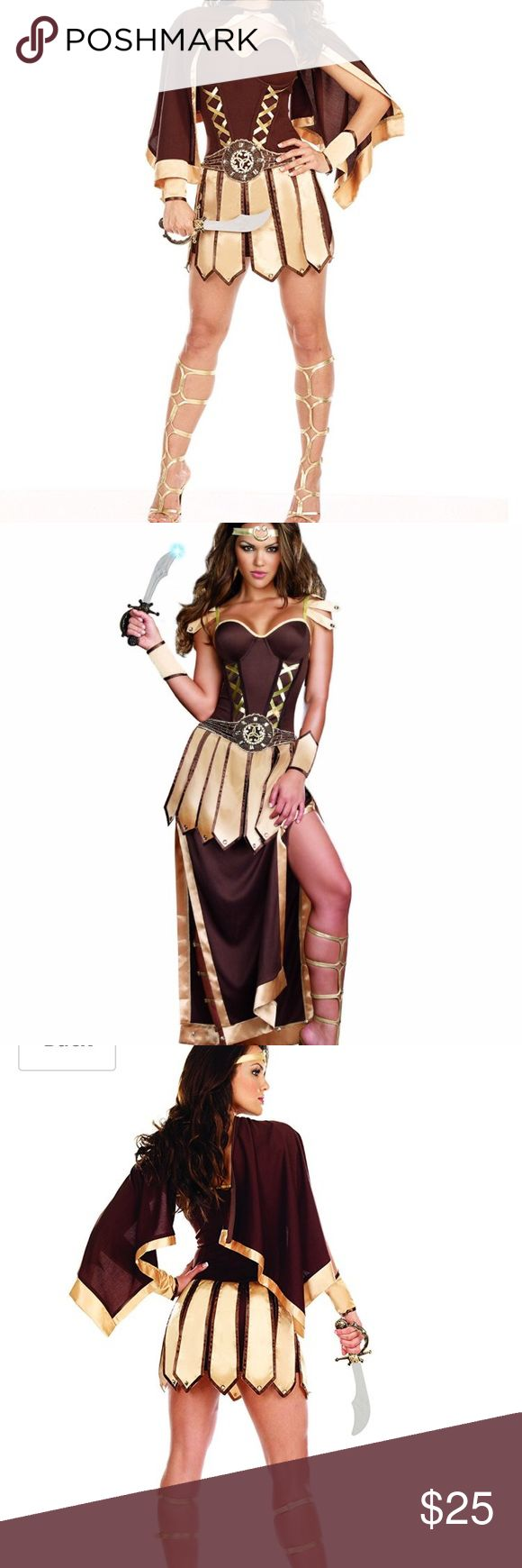 Sexy women warrior/spartan costume Comes with hand cuffs, headband, cape/skirt extension and plastic knife. Worn once Skirts Mini
