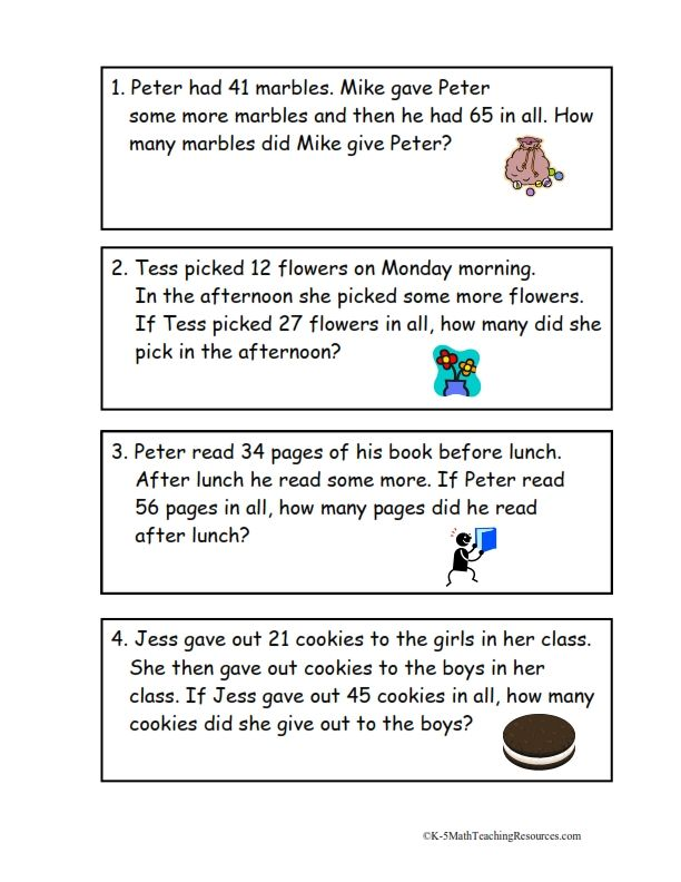 Math- Grade 2 Second graders tend to struggle with word math problems. They confused with all the words mixed with numbers. This worksheet will help them practice.  Add To Change Unknown Problems