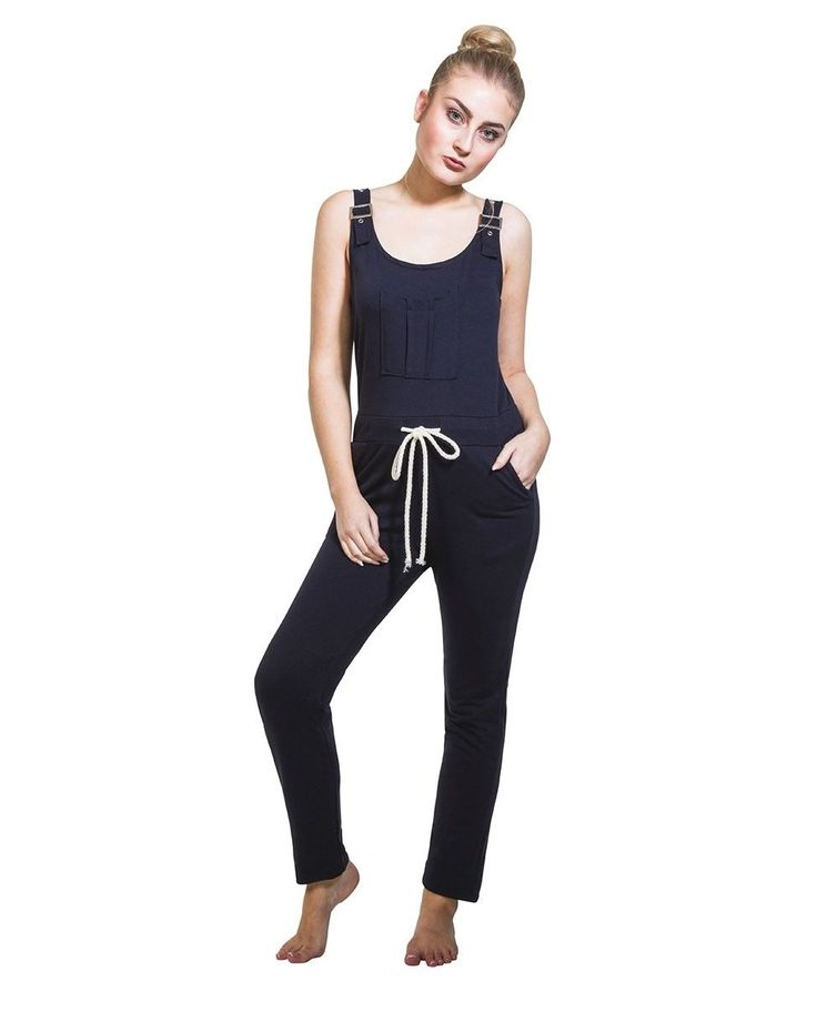 Ladies Jumpsuit - Navy Overall Playsuit One Size Us 6-10