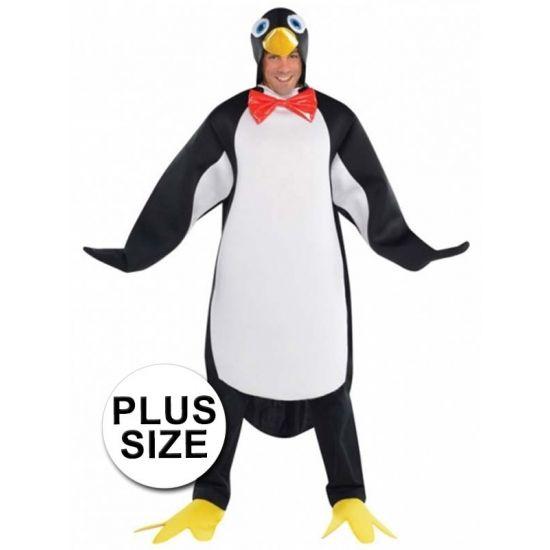 Grote maten dierenpak pinguin. Pinguin verkleed kostuum voor heren. Materiaal: 100% polyester.