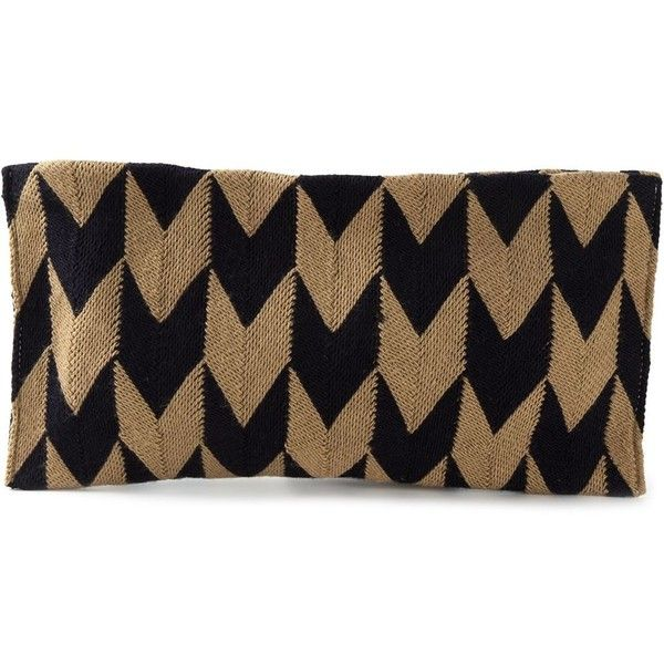 Sophie Anderson Eva Arrow Clutch (2.910 DKK) ❤ liked on Polyvore featuring bags, handbags, clutches, brown, brown purse, cotton handbags, brown handbags, sophie anderson and cotton purse