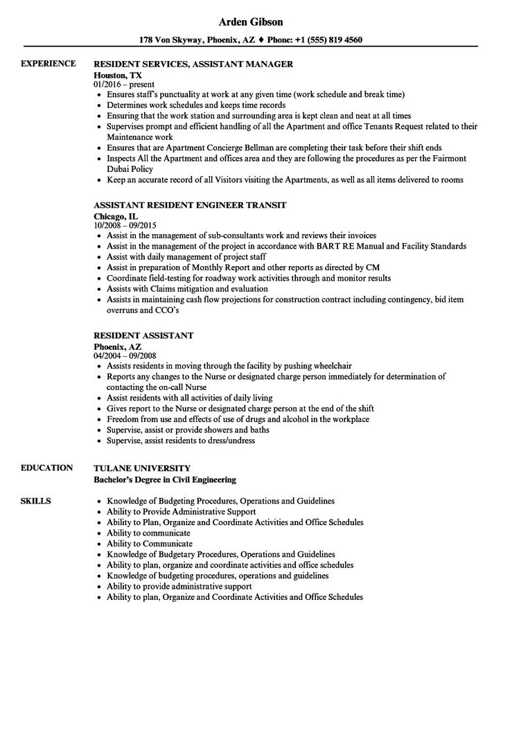 Resident Assistant Resume Resident assistant, Medical