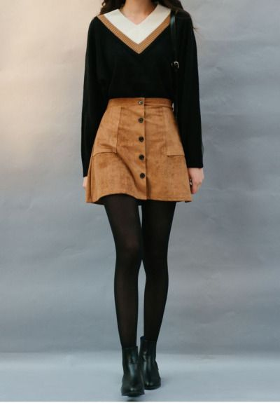 Korean fashion - v-neck striped top, brown suede skirt, stockings and black boots