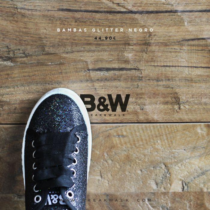 Bambas Glitter Negro para Mujer. Comprar Zapatillas online. Break&Walk.