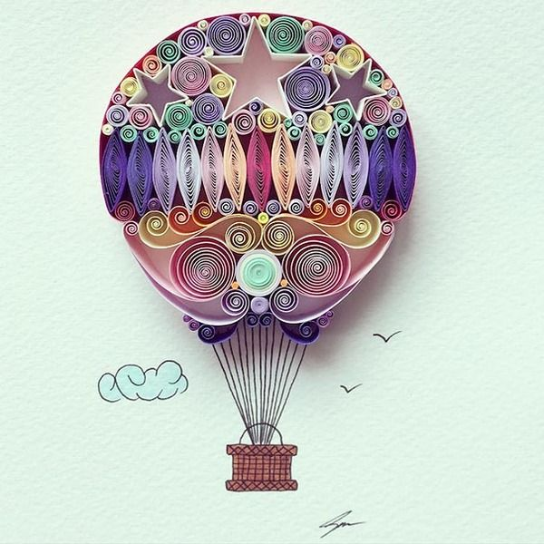 紙をクルクルして作る繊細で装飾的なペーパークイリングアート (9)